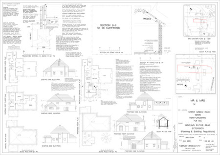 Building regulations house extension drawings